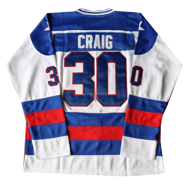 Hommes USA Jim Craig #30 maillot de Hockey sur glace bleu blanc couleur S M L XL XXL XXXL 1980 Miracle On Ice Cosplay Costume film Jersey