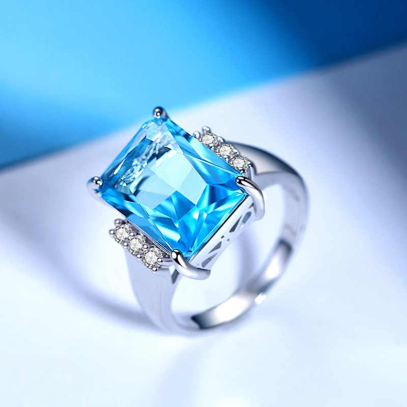 אופנה Desgin אישה טבעות גדול כיכר כחול CZ מעוקב זירקון אבן כסף טבעות יום הולדת מסיבת חתונה מתנת תכשיטי Yüzük