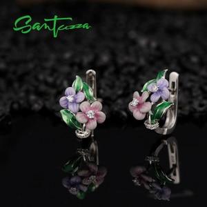 Image 5 - SANTUZZA Schmuck Set Für Frauen 925 Sterling Silber Zarten Rosa Blume Ring Ohrringe Anhänger Mode Schmuck HANDMADE Emaille