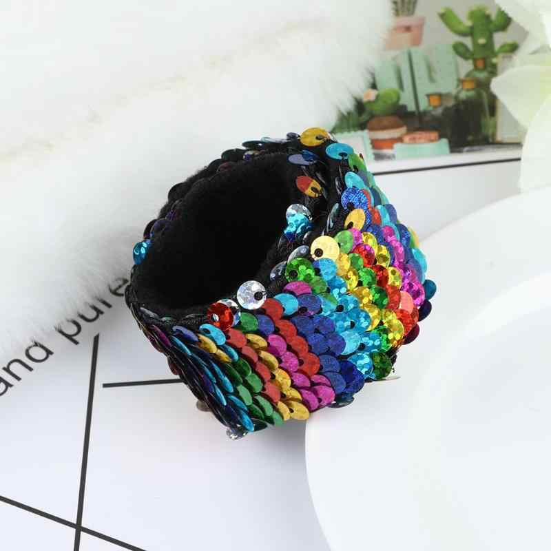 Sequin Slap Bracelets Glitter Wristband Headband Hair Band for Kids Party Favors Novolty Colorful Valentine's Gift 8 Color