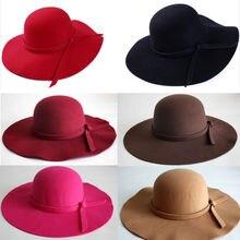 Vintage Women's Floppy Cloche Cap Wide Brim Wool Felt Bowler Fedora Hat
