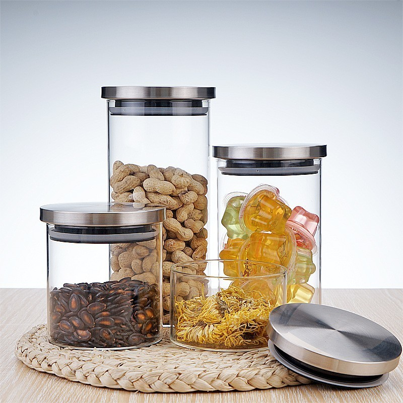 US $7.2 40% OFF|Borosilica Glass Jars With Stainless Steel Lid Home Storage  Bottles Container Kitchen Spice Sealed Bulk Candy Mason Jar-in Storage ...