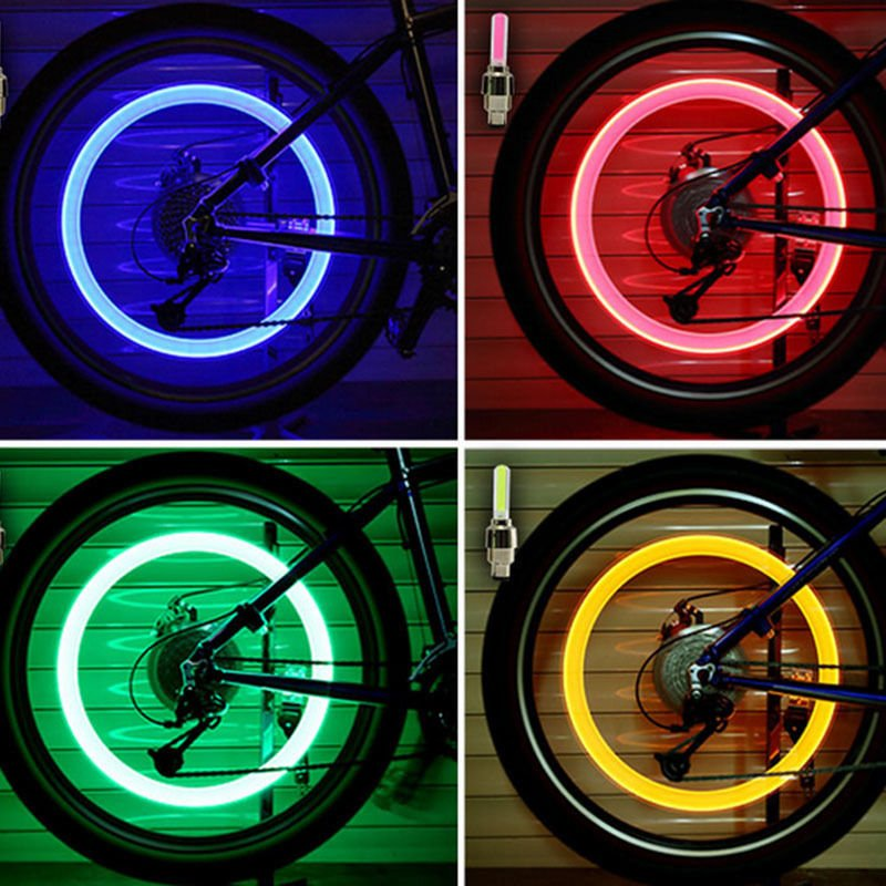2PCS Bicycle LED Light Tire Valve Cap Bicycle Flash Light Mountain Road Bike Cycling Tyre Wheel Lights LED Neon Lamp Cover Wheel