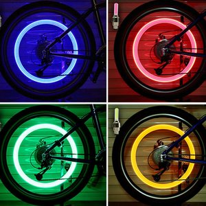 2PCS Bicycle LED Light Tire Valve Cap Bicycle Flash Light Mountain Road Bike Cycling Tyre Wheel Lights LED Neon Lamp Cover Wheel(China)