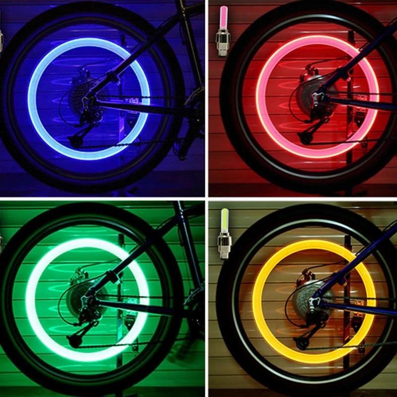 LED Bicycle Wheel Valve Caps Lights Tire Spoke Signal Colorful Light Bike  -