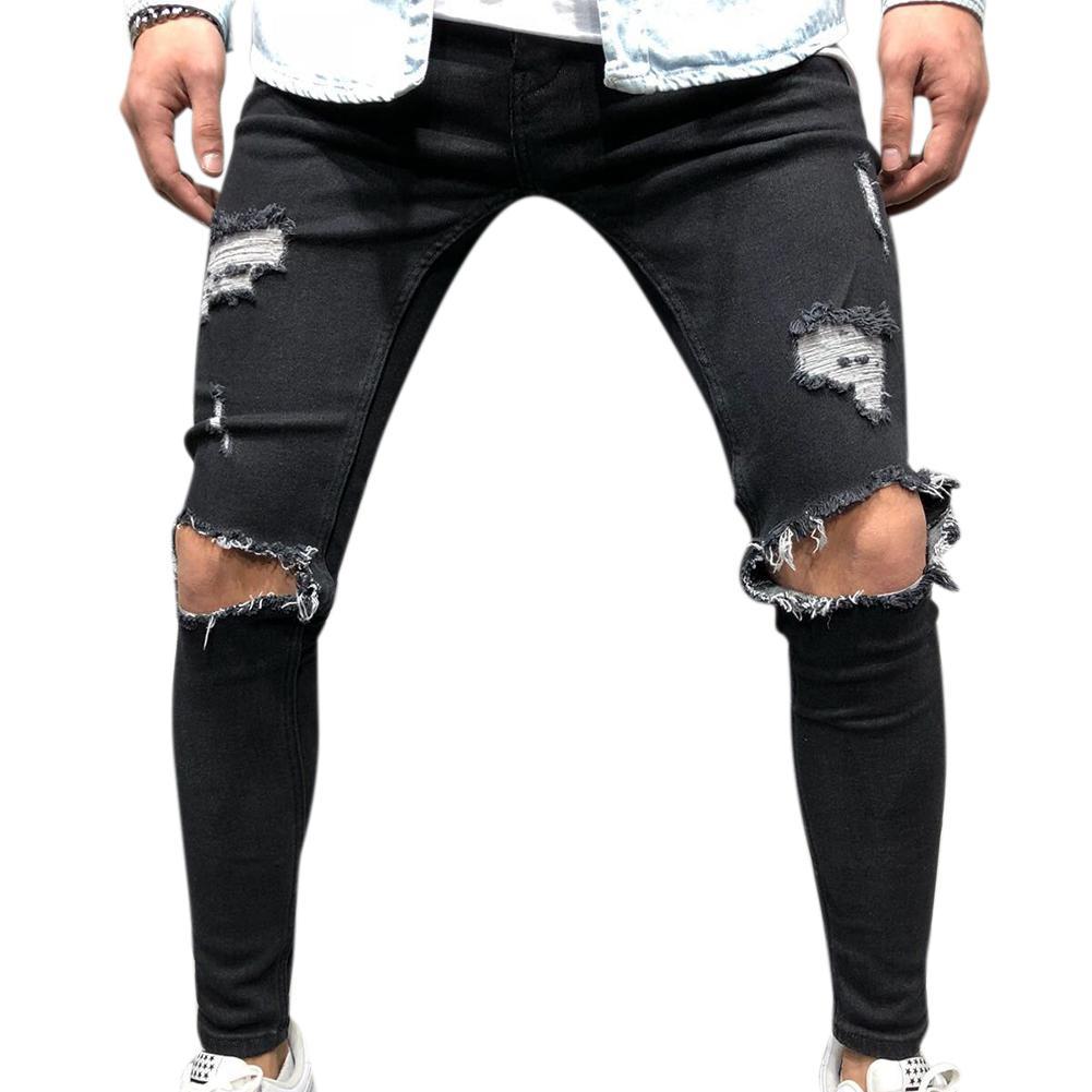 Men Retro Fashion Pencil Pants Frayed Slim Fit Denim Pants Break Hole Jeans Casual Thin Summer Denim Pants Classic Cowboys Pants
