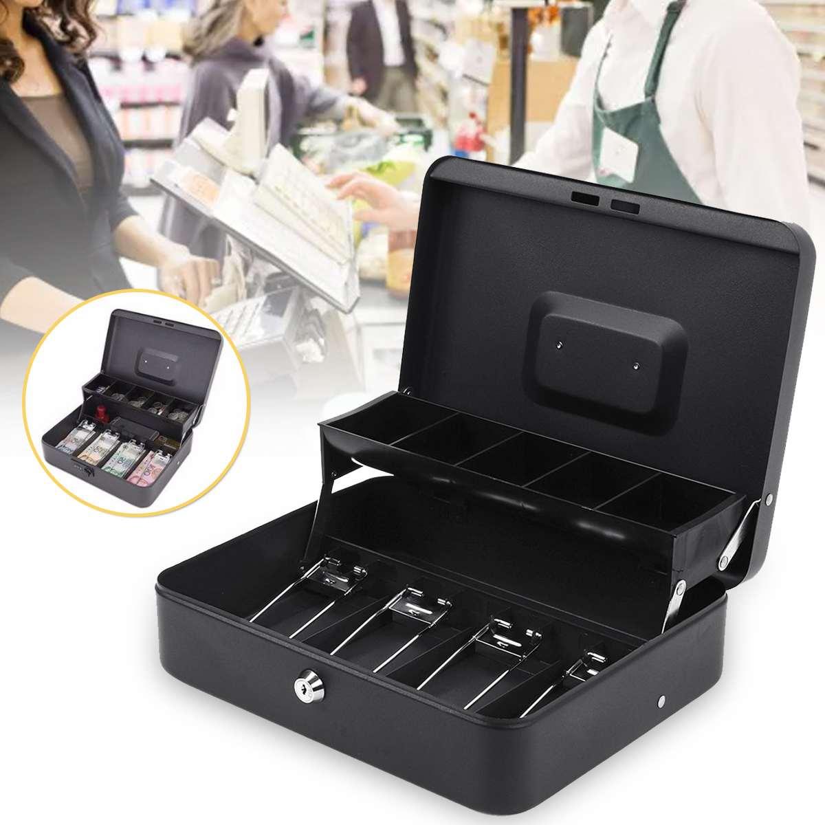 12 pouces tirelire en métal serrure à clé petite pièce de monnaie caisse Pot verrouillable caisse de dépôt de sécurité caisse tiroir de stockage