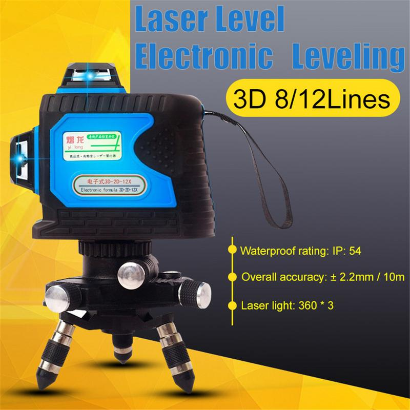 360 * 3 Laser 8/12 Lines Laser Level Green Light Wall Meter 3d Intelligent Electronic High Precision Automatic Line Instrument