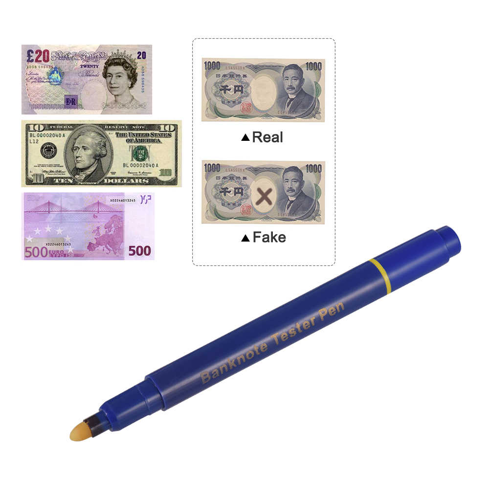 المحمولة البسيطة الأوراق النقدية اختبار القلم كاشف النقود المزيفة القلم العملات النقدية مدقق وهمية الدولار علامة مع قلم بسن بلية عداد أجهزة كشف النقود Aliexpress