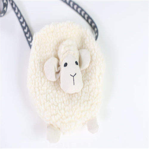 Купить с кэшбэком Toddler Girls Soft Cute Plush Sheep Shape Messenger Handbags Mini Storage Bags Single Shoulder Bag Coin Purse Wallet Accessories