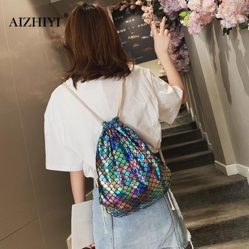 Fish Scales Drawstring Backpacks Travel Sports Shoulder Bags Women School RucksacksFish Scales Drawstring Backpacks Travel Sports Shoulder Bags Women School Rucksacks