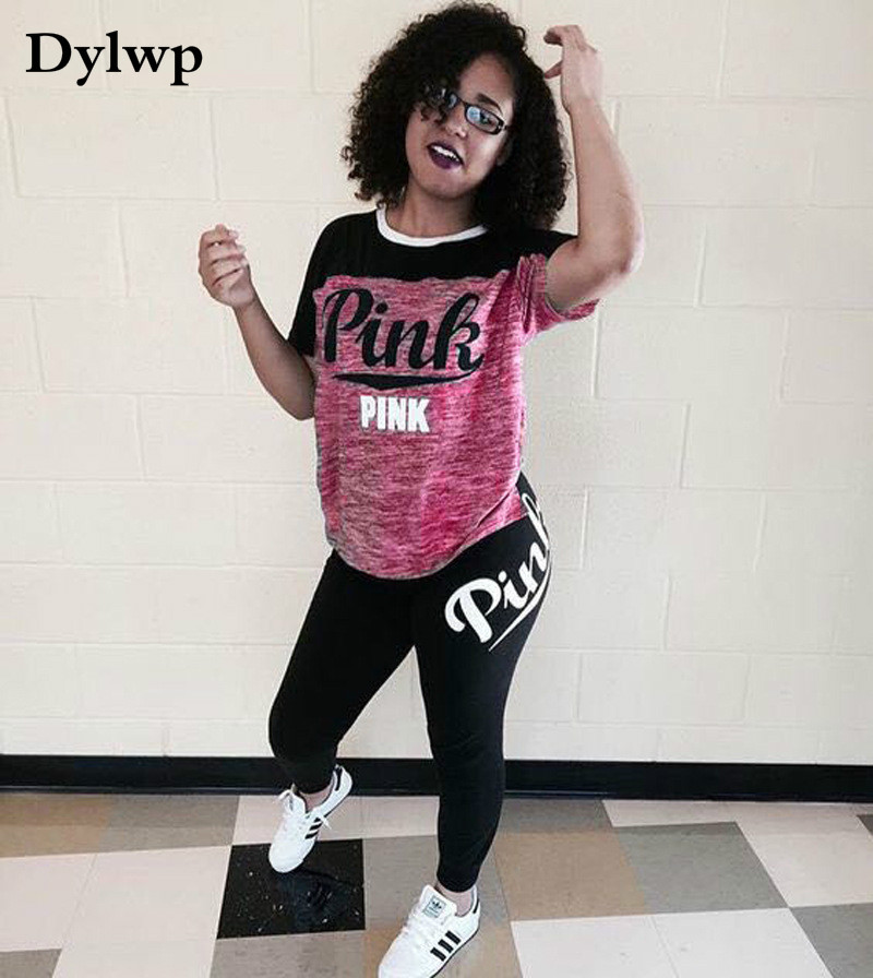 2Pcs Womens Clothing Pink Outfit Print Short Sleeve T-shirt Top And Long Pants Two Piece Set Tracksuit Women Sweatsuit