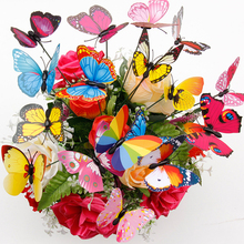Colorful 20Pcs/set 3D Double Layer Butterfly On Sticks Home Yard Lawn Flowerpot