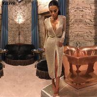 Xnxee long sleeve gold glitter dress mesh ladies dresses womens clothing club party ladies fashionable dresses clothes mesh 2019