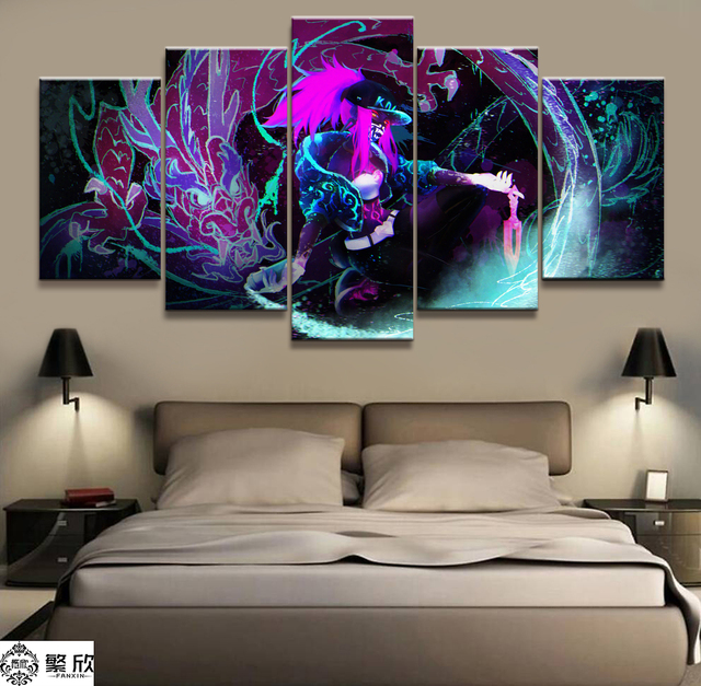 Home Decor Modular Canvas Picture 5 Piece Akali K/DA League of Legends LOL Game Painting Poster Wall For Home Canvas Wholesale