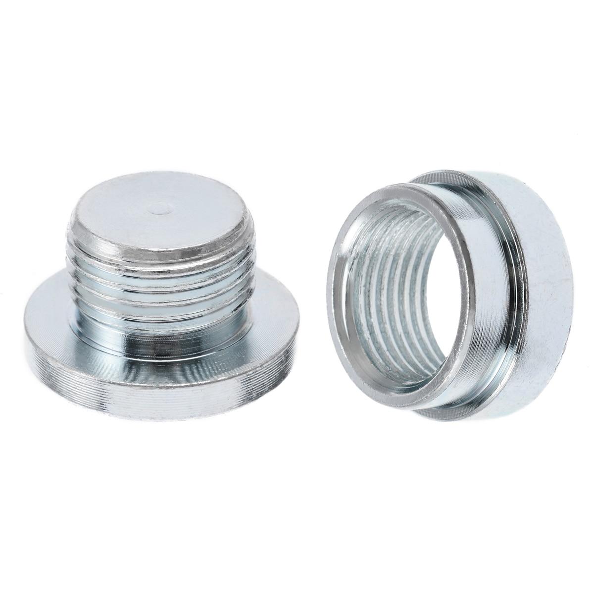 Mayitr 2pcs O2 Oxygen Sensor Stainless Steel Iron Weld On Bung Plug Nut Cap Kit M18x1.5