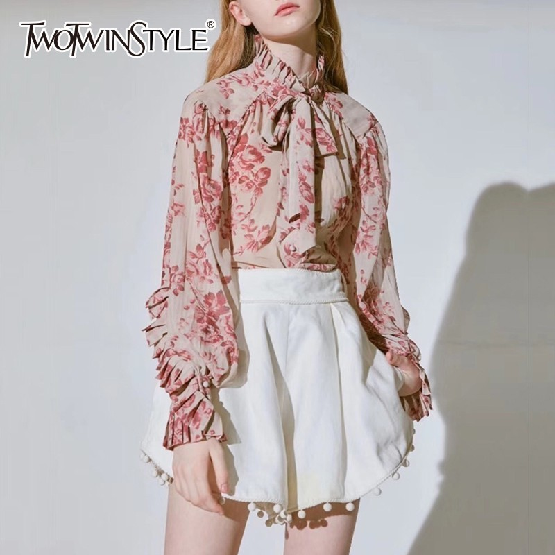 TWOTWINSTYLE Casual Print Tops Female Bowknot Lace Up Turtleneck Lantern Long Sleeve Shirts Blouse Women 2019 Spring Fashion