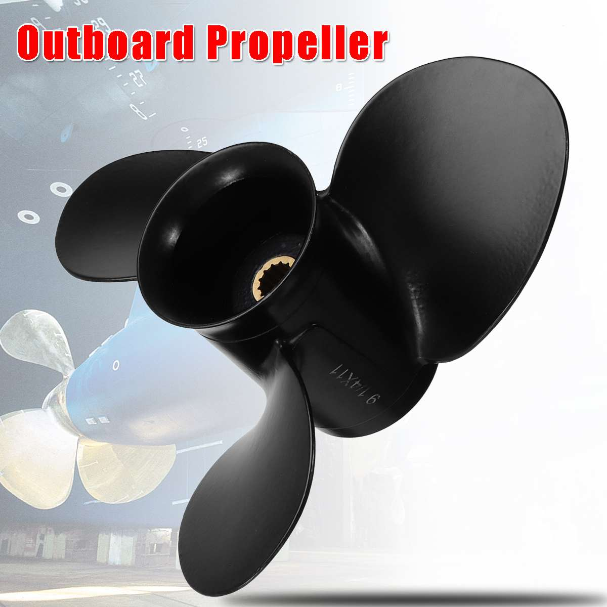 174817 / 778773 Aluminum Alloy 9 1/4 X 11 Outboard Propeller Black 3 Blades 13 Spline Tooth For Johnson/Evinrude/OMC 8-15HP