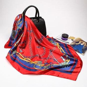 Large Hijab Scarves For Women Fashion Print Silk Satin Scarf Female 90cmx90cm Luxury Brand Shawls Square Head Scarfs For Ladies