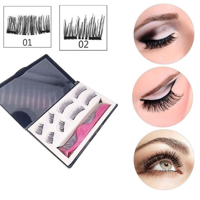 8 piezas negro 3D hecho a mano magnético falso pestañas con pestañas pinzas doble pestañas puro ojo falso pestañas maquillaje pestañas extensión
