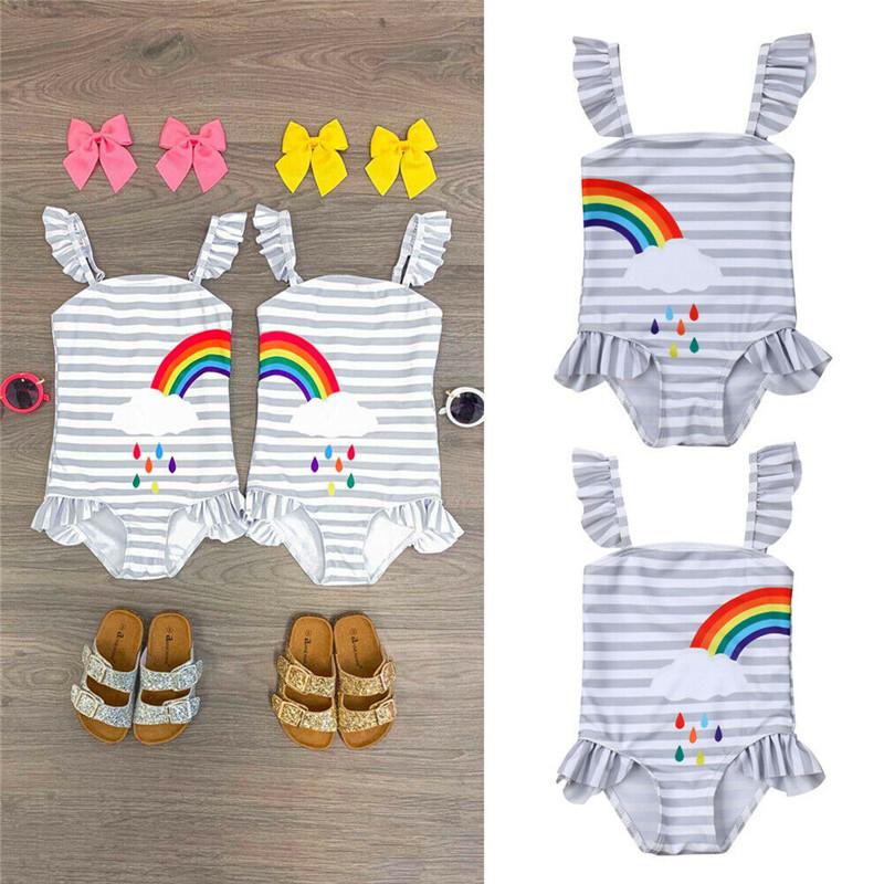 Sisters Matching Clothes Kids Baby Girls Bikini Swimwear Fashion Lace Strap Bodysuits Striped Left/Right Rainbow Beachwear 1-6Y