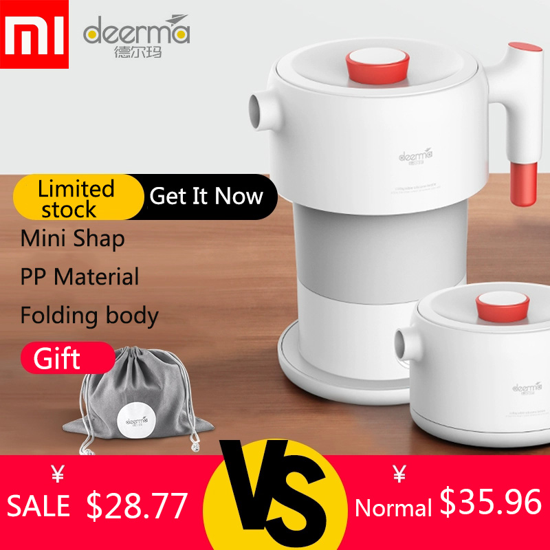 Xiaomi Deerma Electric kettle Folding Water Kettle Smart Flask Pot Auto Power Off Protection 0.6L Kettle Teapot For Travel Home