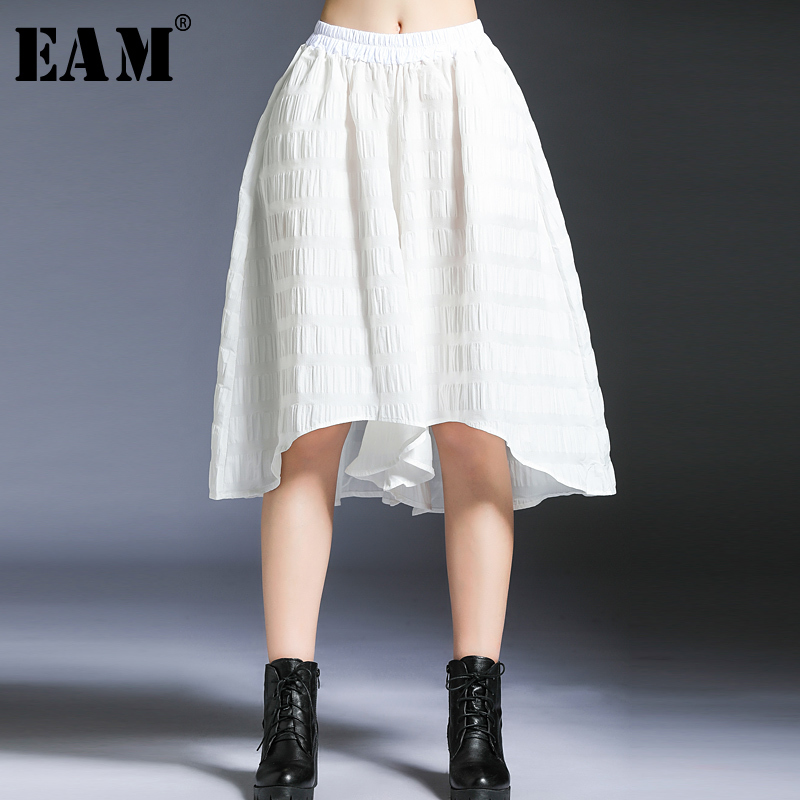 [EAM] 2019 New Spring Summer High Elastic Waist Black Irregular Hem Loose   Wide     Leg     Pants   Women Trousers Fashion Tide JO443