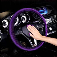 Crystal Steering Wheel Cover Wheel Cover For Women Girls Car Wheel Cover Rhinestone Car Steering Wheel Accessories Funda Volante