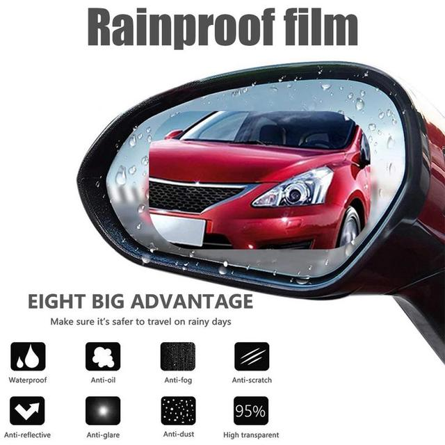 Rainproof Film Anti Fog Side Window Reflective Anti-Scratch Clear Protective Film for Car Rearview Mirror Glass -Pack of 2PCS