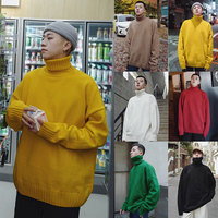 Winter Turtleneck Sweater Men Warm Fashion Solid Color Loose High Quality Long Sleeve Knitting Pullover Man Casual Male Clothes