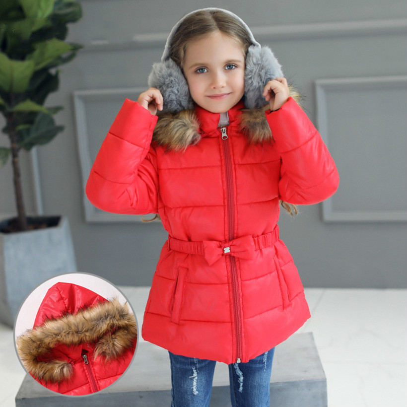 Winter Jackets Girls Christmas Coat  Kids Hooded Outerwear Princess Manteau Fille Hiver Girls Jacket Snowsuit Children Clothing