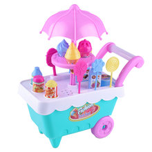 16 PCS Baby Pretend Toy Set Rotating Ice Cream And Candy Cart Kids Play Food Supermarket Trolley Toys Girl Birthday Gift