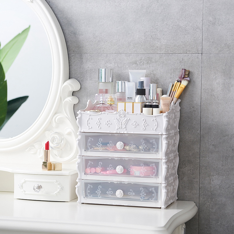 Plastic Cosmetic Drawer Container Makeup Organizer Box For Storage Make Up Jewelry Nail Holder Home Desktop Sundry Storage Cas