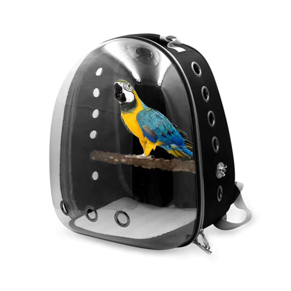 Portable Parrot Outing Backpack Bird Carrier with Wood Perch Breathable Transparent Space Capsule Travel Cage Bird Supplies 20E