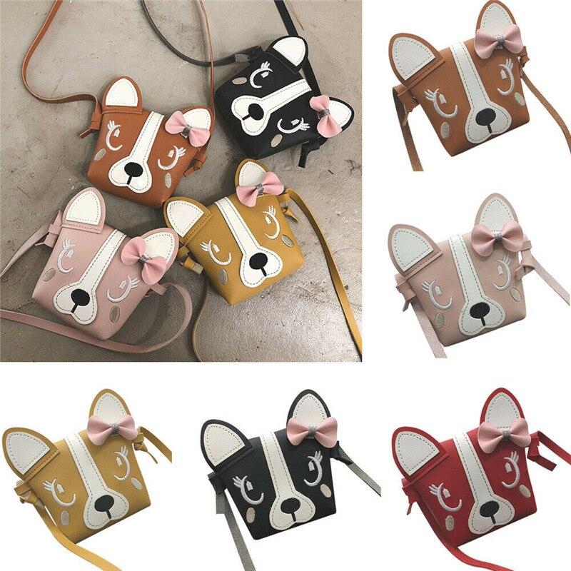PUDCOCO Hot Pretty Kids Girl Mini Crossbody Bag Cute Dog Bowknot Handbag Fashion Child Shoulder Bag
