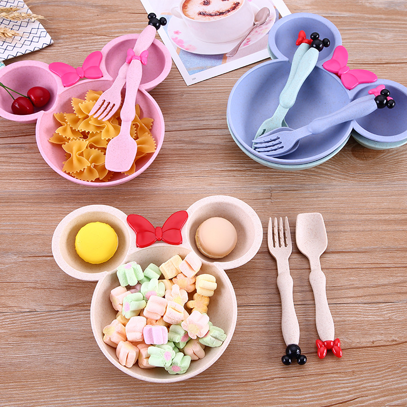 3pcs/set Children Wheat Straw Bowl Kids Learning Bowls Thicken Cute Baby Bowl BPA Free Opp Packing