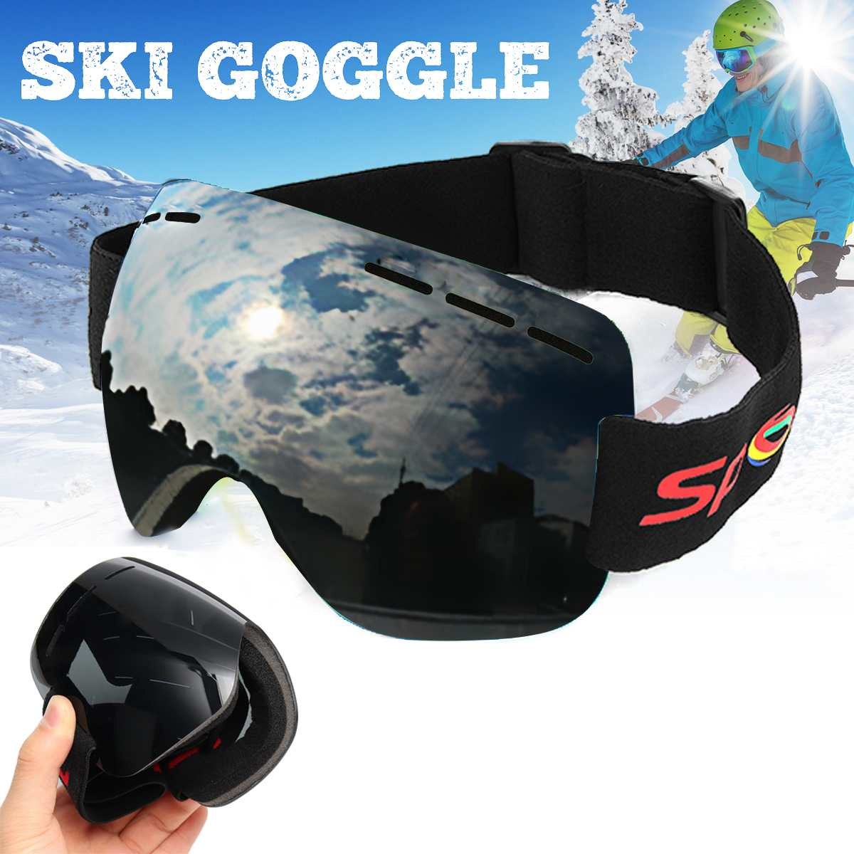 Skiing Snowboarding Goggles Men Unisex Double Lens Anti-fog Wind Dust UV Snow Ski Sun Glass Eyewear