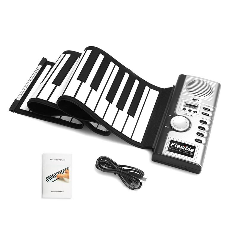 New Flexible Piano 61 Keys Electronic Piano Keyboard Silicon Roll Up Piano Sustain Function USB Port With Loud Speaker