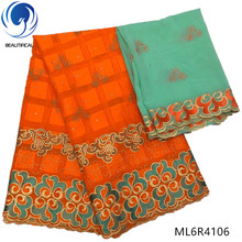 BEAUTIFICAL orange african lace fabrics Latest elegant embroidery swiss voile fabric nigerian cotton stones ML6R41