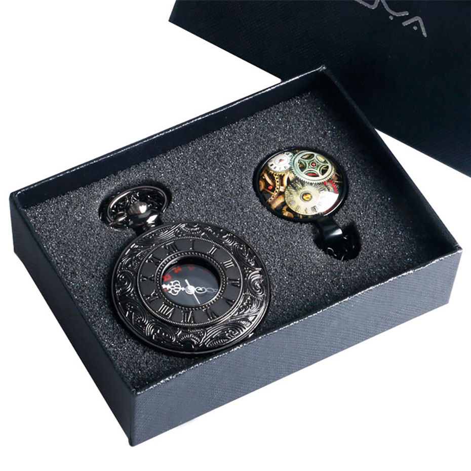 Black Roman Number Quartz Pocket Watch Wheel Necklace Pendant Men Fob Watches Gifts Box Set Male Clock Christmas Birthday Gift