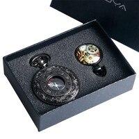Black Roman Number Quartz Pocket Watch Wheel Necklace Clock Pendant Men Fob Watches Gifts Box Set Christmas Gifts