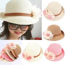 474eb0a0 Kid Girl Princess Sun Hat Flower Beach Caps Children Straw Wide Brim Floppy  Cap Beige Pink