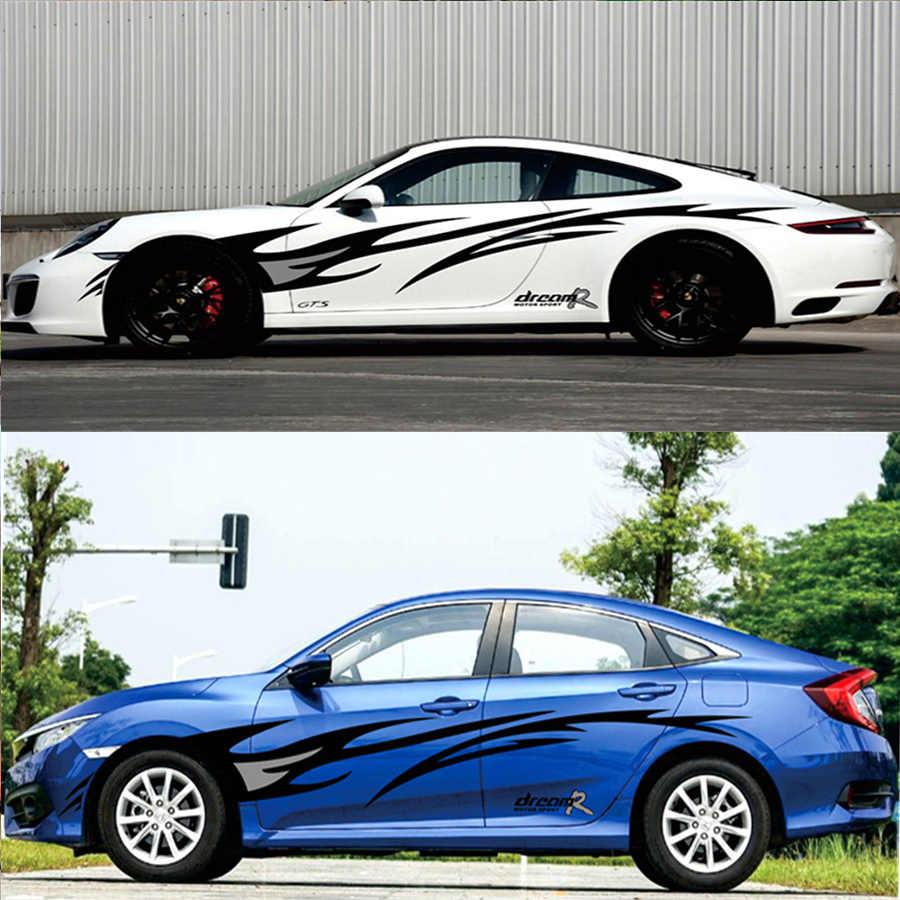2 قطعة سيارة ملصق فينيل لهب الرسومات تصميم سيارة الجانب الجسم ديكور غطاء الشارات سيارة التصميم أسود + رمادي