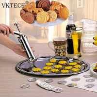 Biscoitos de aço inoxidável imprensa cortador biscoitos máquina da imprensa decoração do bolo 20 moldes cookie 4 bicos ferramentas cozimento transporte da gota