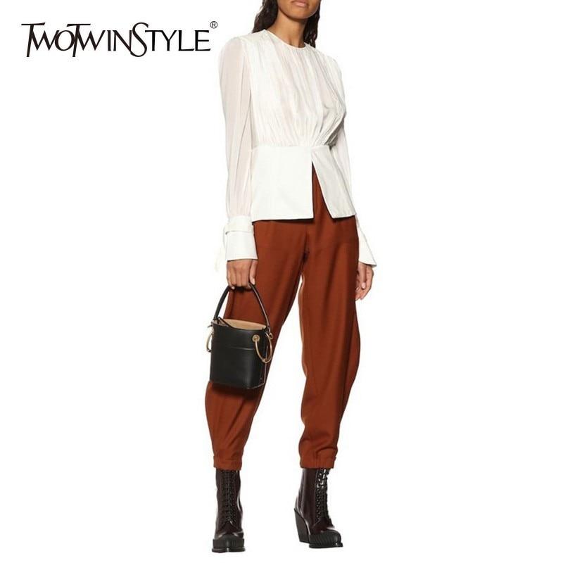 TWOTWINSTYLE Elegant Tops Female O Neck Flare Long Sleeve Tunic Hem Split White Shirts Blouse Women 2020 Spring Korean Fashion