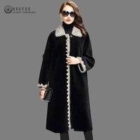 Женская куртка из натуральной норки с меховым воротником, модная верхняя одежда из 2019 шерсти, длинное пальто, плотное теплое Черное пальто и