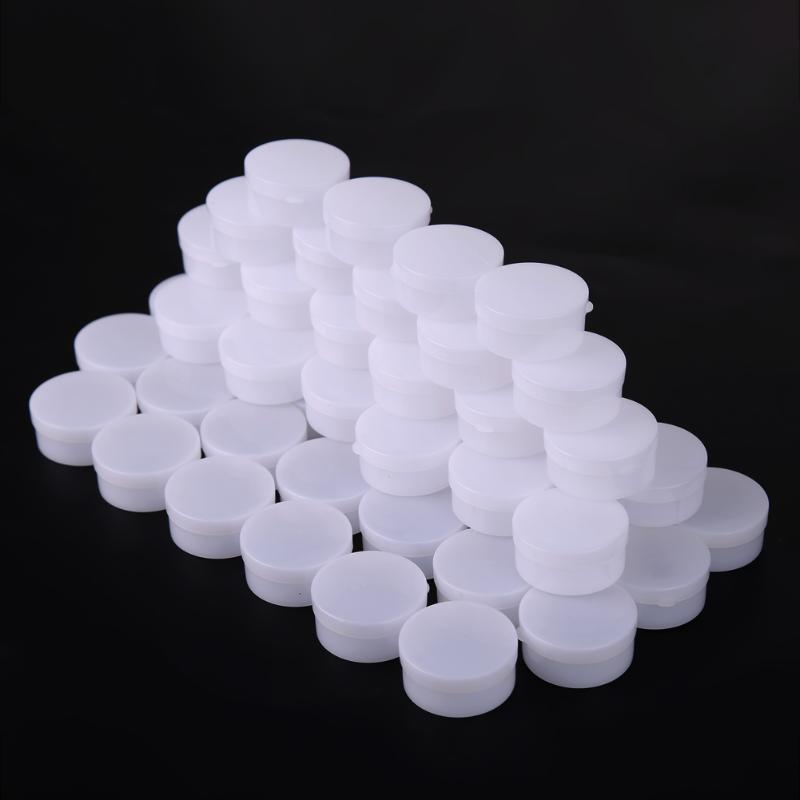 50pcs Medical Plastics Empty Cosmetic Container Small Box Jar Pot For Eyeshadow Face Cream Nail Tips Decorations Storage Box