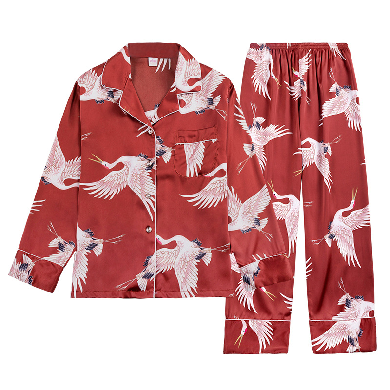 2019 Womens   Pajamas     Sets   With Pants Pyjamas Satin Sleepwear Silk Pijama Loose Two Piece Long Sleeve Flower Print Nightwear