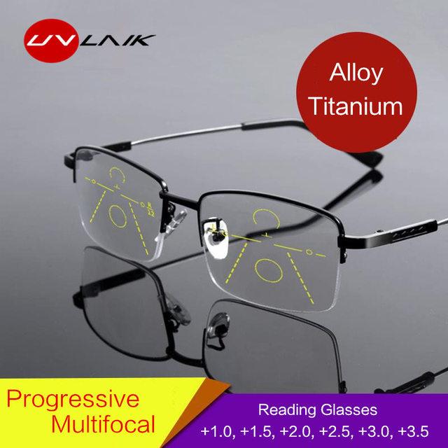 UVLAIK Titanium Progressive Multifocal Glasses Men Memory Aolly Blue Light Reading Glasses Half Frame Prescription Eyeglasses
