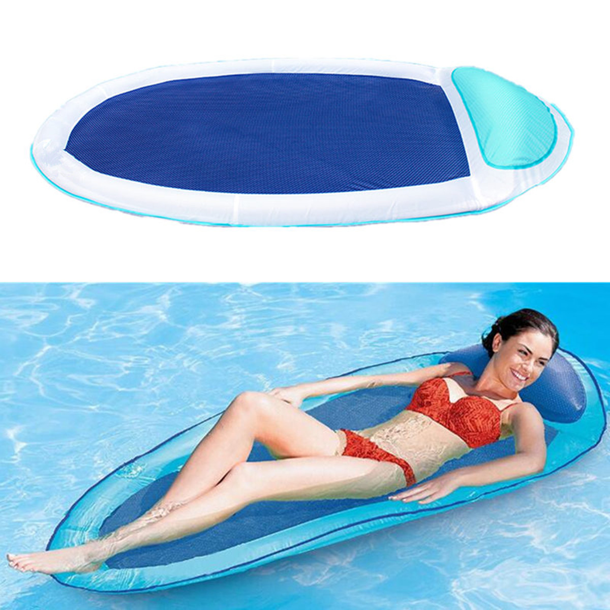 Foldable Floating Water Hammock Float Lounger Floating Toys Inflatable Floating Bed Chair Swimming Pool Inflatable Hammock